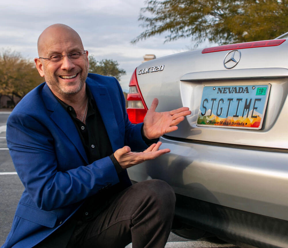 Darren LaCroix and his license plate